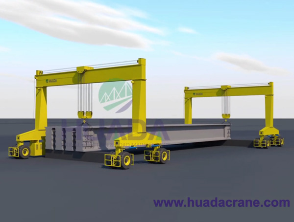 Two Sets of Straddle Crane, Straddle Carrier for Lifting Precast T beam, I beam, U beam etc.